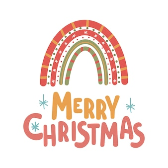 Tarjeta de letras inspiradoras de feliz navidad con estampado lindo de arco iris