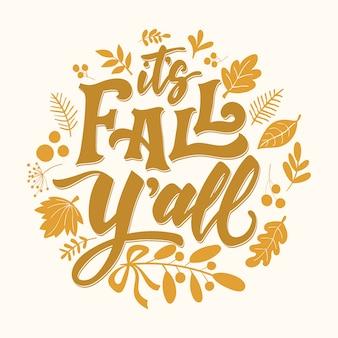 Tarjeta de letras otoño es otoño y'all