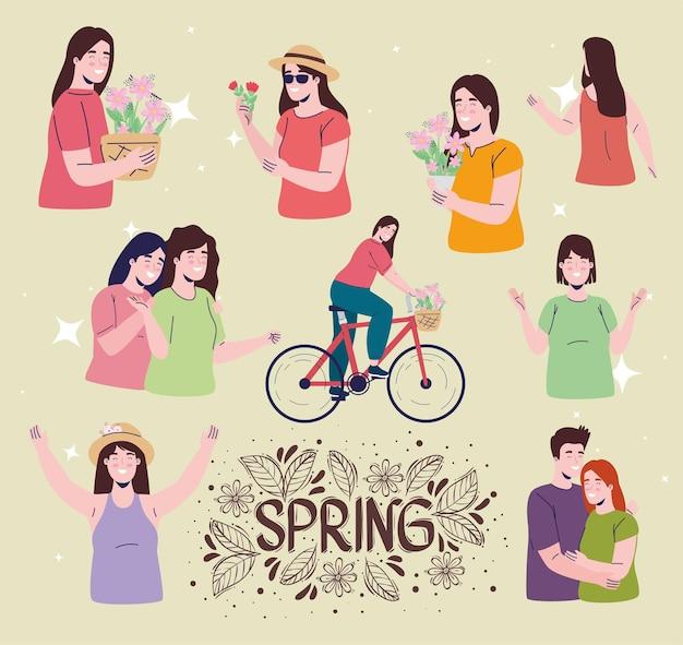 Tarjeta de letras de temporada de primavera con ilustración de personajes de personas