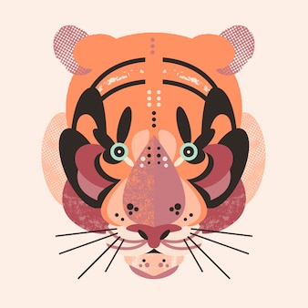 Tarjeta linda adorable tigre