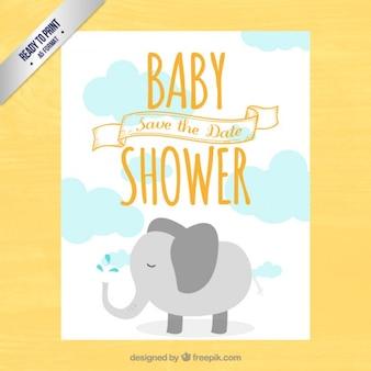 Tarjeta linda de bienvenida del bebé con un elefante