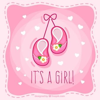 Tarjeta linda de bienvenida del bebé para niña