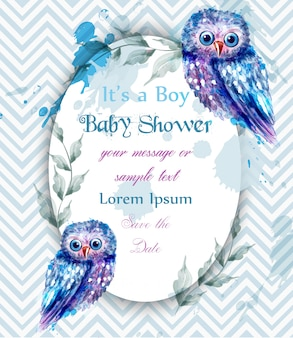 Tarjeta linda de los búhos azules invitación de la fiesta de bienvenida al bebé acuarela