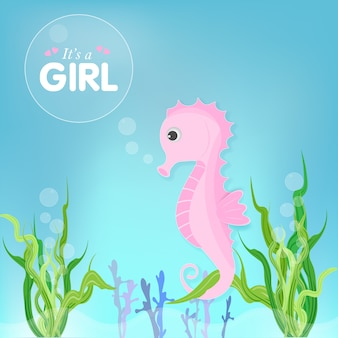 Tarjeta linda de la ducha de la historieta del seahorse rosado