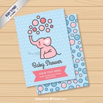 Tarjeta linda de elefante para bienvenida del bebé