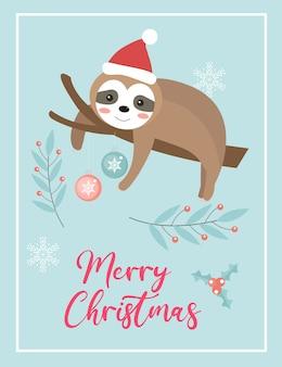 Tarjeta linda feliz navidad con perezoso en sombrero de santa.