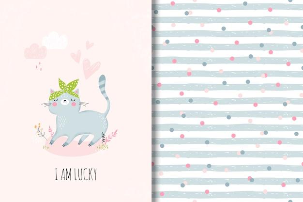 Tarjeta linda con gato de dibujos animados y divertido patrón transparente