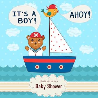 Tarjeta linda de la invitación de la fiesta de bienvenida al bebé es un muchacho