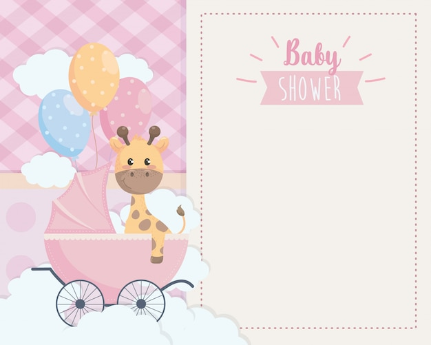 Tarjeta de linda jirafa en el carruaje y globos.