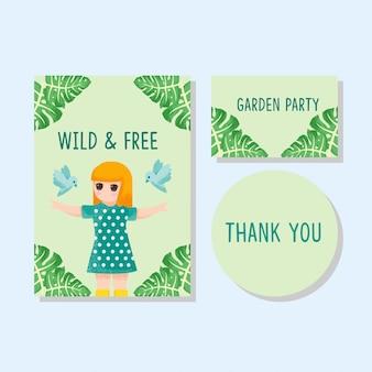 Tarjeta linda niños invitación gracias tarjeta niño niña dibujado a mano