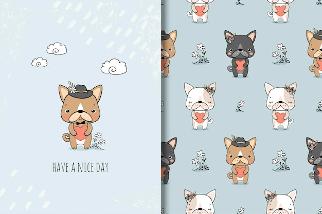 Tarjeta linda perrita y patrones sin fisuras. personaje de dibujos animados de animales.