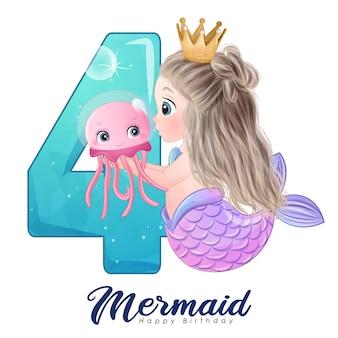 Tarjeta linda de la sirena del doodle con el número para la fiesta de cumpleaños