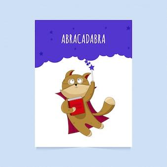 Tarjeta con lindo gato de dibujos animados. personaje mago con varita mágica y libro