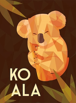 Tarjeta de lindo koala australiano en un árbol