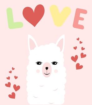 Tarjeta con lindo lama con corazones y palabra de amor, colores pastel