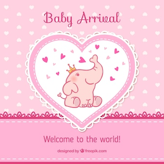 Tarjeta de llegada del bebé en tonos rosas