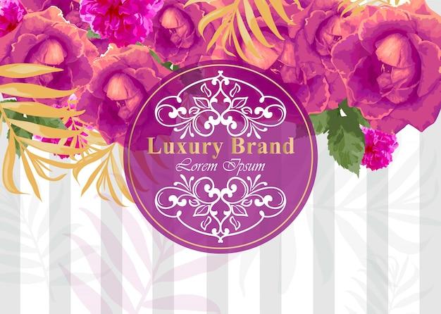 Tarjeta de lujo con flores rosas de acuarela. fondos de diseños modernos de composición abstracta