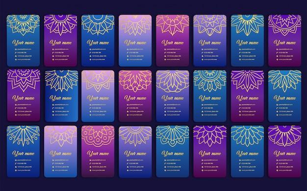 Tarjeta de lujo con mandala. tarjeta de visita arabesca en color morado moderno
