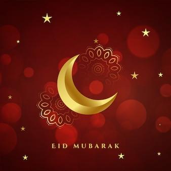 Tarjeta de luna dorada de eid mubarak