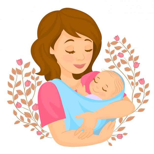 Tarjeta con madre e hijo en flores