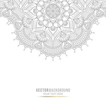 Tarjeta de mandala o invitación con elementos decorativos vintage