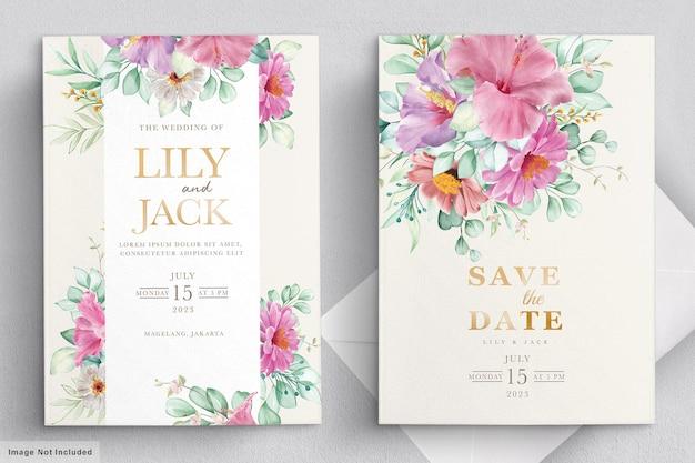 Tarjeta de marco de boda floral floreciente