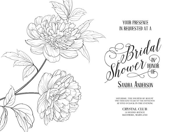 Tarjeta de marco de boda con peonías florecientes.