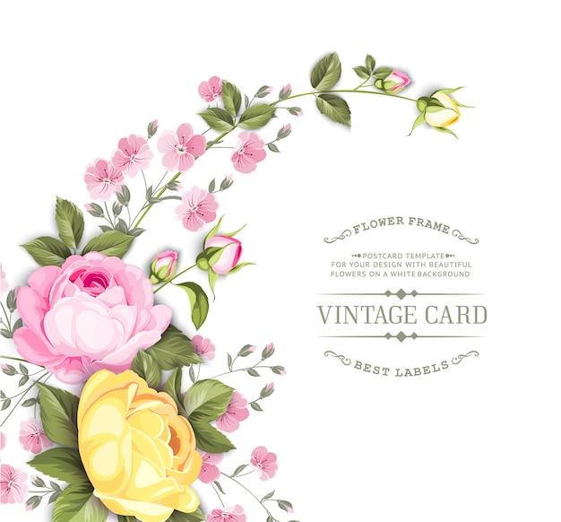 Tarjeta de marco de boda con rosas florecientes.