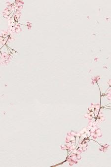 Tarjeta de marco de flor de cerezo