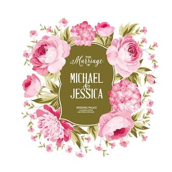 Tarjeta de marco flor rosa y hortensia.