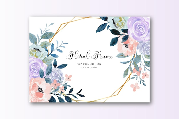Tarjeta de marco de flor rosa púrpura acuarela