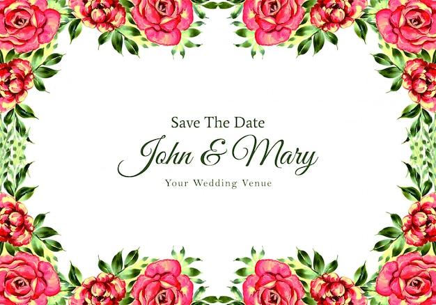 Tarjeta de marco de flores de invitación de boda