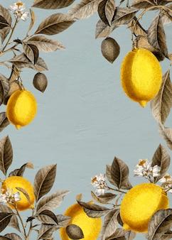 Tarjeta de marco de limones en blanco