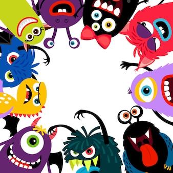 Tarjeta de marco de monstruos coloridos