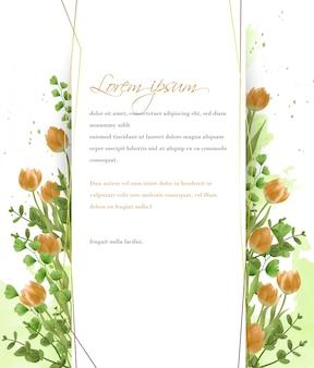 Tarjeta de marco de tulipanes amarillos acuarela y follaje