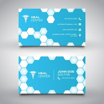 Tarjeta médica azul con hexágonos
