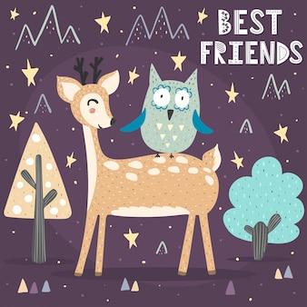 Tarjeta de los mejores amigos con un lindo ciervo y un búho