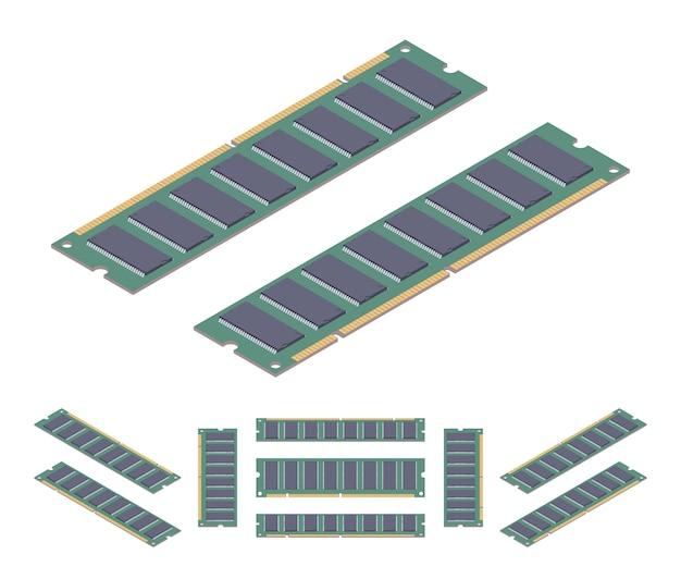 Tarjeta de memoria ram plano isométrica