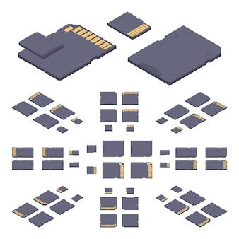 Tarjeta de memoria sd plana isométrica