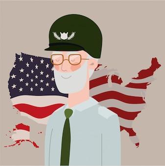 Tarjeta de memorial day con la bandera de estados unidos y veterano en el mapa