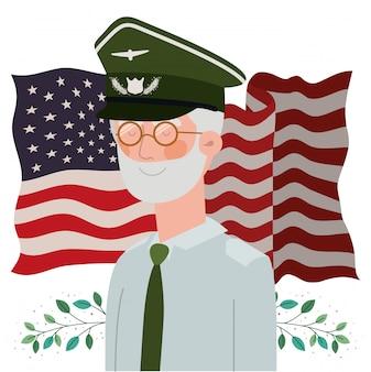 Tarjeta de memorial day con la bandera de estados unidos y veterano