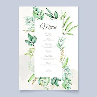 Tarjeta de menú de acuarela en hojas verdes