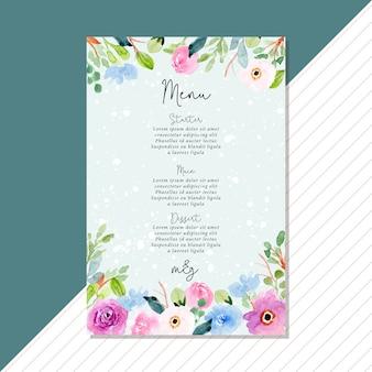 Tarjeta de menú de boda con marco acuarela azul rosa floral