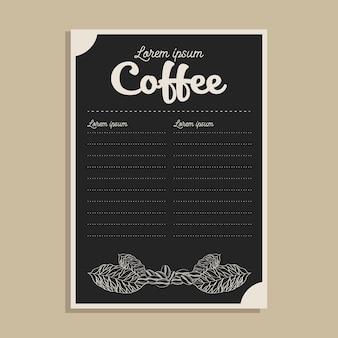 Tarjeta de menú de café negro con hojas y frijoles diseño de tiempo beber desayuno tienda de bebidas