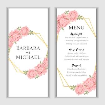 Tarjeta de menú floral con decoración de crisantemo