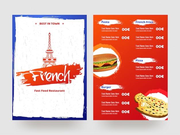 Tarjeta de menú del restaurante francés de comida rápida.