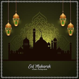 Tarjeta de la mezquita de eid mubarak con linternas doradas