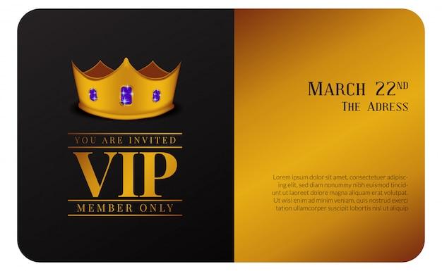 Tarjeta de miembro vip de lujo con invitación de corona dorada