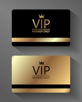 Tarjeta de miembro vip oro y negro