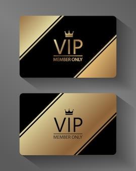 Tarjeta de miembro vip vector oro y negro